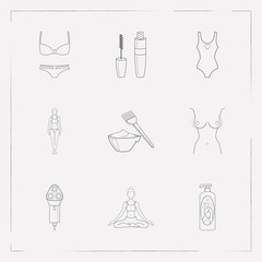 Set of fashion icons line style symbols with one piece swimsuit, electric shaver, shampoo and other icons for your web mobile app logo design.