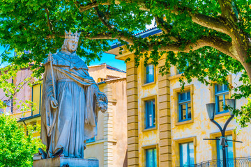 statue of King Roi Renee situated at the top of the main Cours Mirabeau at Aix-en-Provence