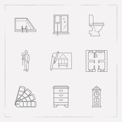 Set of interior icons line style symbols with window cleaning, wall clock, worker and other icons for your web mobile app logo design.