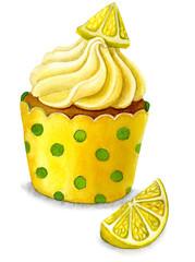 watercolor Illustration of lemon cupcake