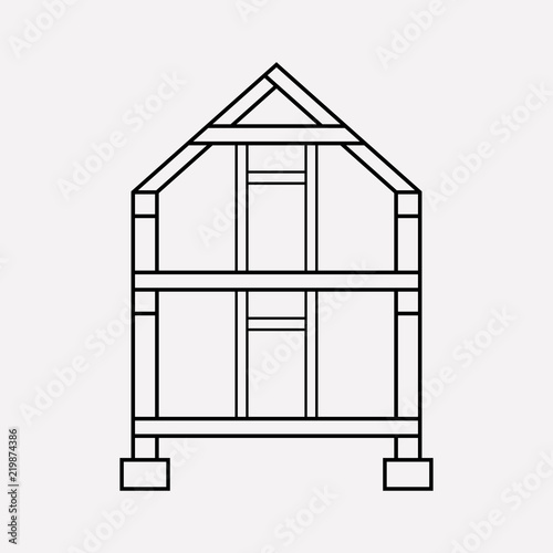 House framing icon line element. Vector illustration of house ...