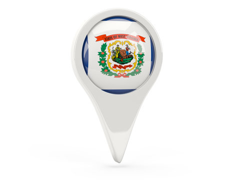 Round flag pin with flag of west virginia. United states local flags