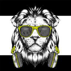 A beautiful lion wearing headphones and glasses. Vector illustration for a postcard or a poster, print for clothes. I love music.