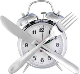 Alarm Clock And Crossed Utensils - Isolated