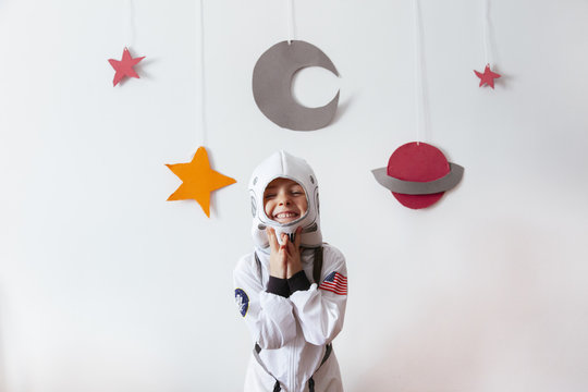 small kid as a creative science astronaut