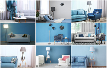 Collection of different room interiors with modern furniture and lamps