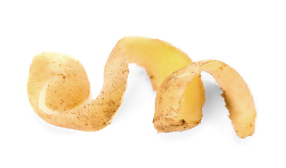 Potato peel on white background. Food waste