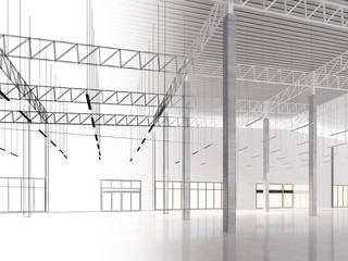 sketch design of interior warehouse, 3d rendering