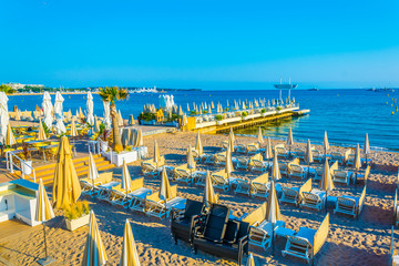View of a beach in Cannes, France