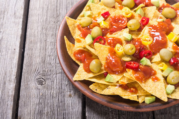 Nachos with sauce salsa