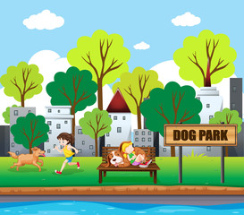 people and pets at dog park