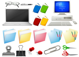 Computer and office objects