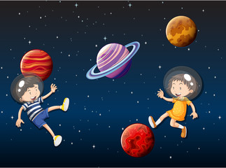 children floating in space