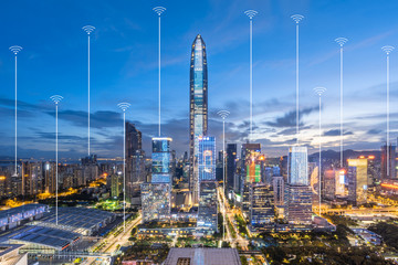 Shenzhen City Scenery and Communication Concept