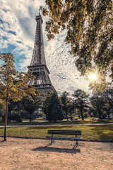 Fototapete - Autumn in Paris near Eiffel tower viewed from the Champ de Mars