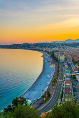 Foto op Canvas Nice Sunset view of Nice, France
