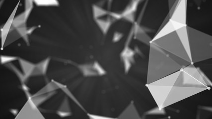Abstract polygonal background with connecting dots and lines 3d rendering