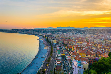 Sunset view of Nice, France