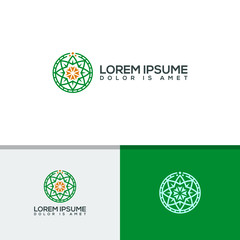yoga center icon symbol, luxury nature logo template vector illustration