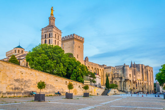 Sunset view of Palais de Papes and the cathedral in Avignon, France