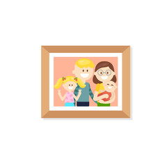 Vector design of simple photo frame with picture of cheerful parents and kids isolated on white background