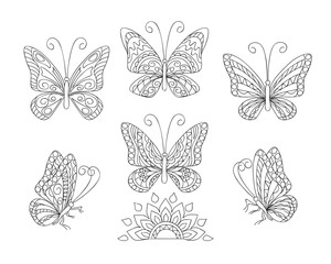 black and white ornamental  butterfies for adult coloring