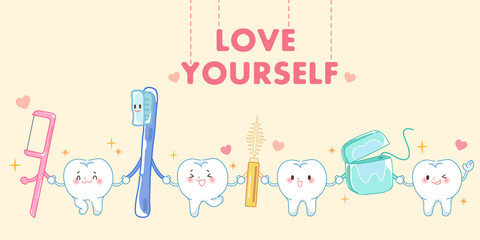 tooth with love yourself concept