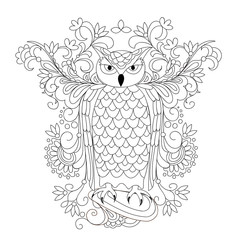 black and white ornamental owl and mehendi flowers for adult coloring