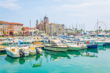 Marina in Saint Raphael dominated by church of our lady of the victory