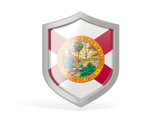 Shield icon with flag of florida. United states local flags