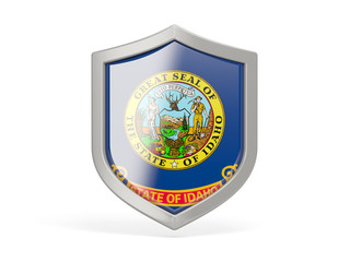 Shield icon with flag of idaho. United states local flags