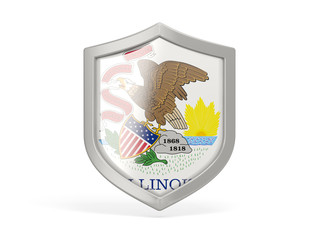 Shield icon with flag of illinois. United states local flags