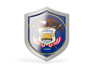 Shield icon with flag of utah. United states local flags