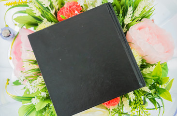 Wall Mural - notebook on flower background