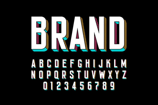 Modern bold 3d font design, alphabet letters and numbers