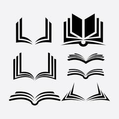 set of book logo vector silhouette