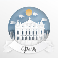 Fototapete - Paper cut style of world famous landmark of Paris, France with white frame and label. Travel postcard and poster, brochure, advertising Vector illustration.