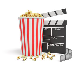 3d rendering of a full popcorn bucket standing near an empty clapperboard and a film strip behind them.