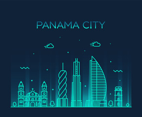 Wall Mural - Panama city skyline Panama vector linear style
