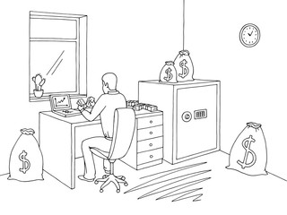Office room graphic black white interior sketch illustration vector. Man counting money