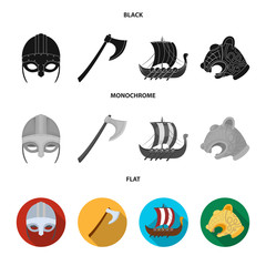 Viking helmet, battle ax, rook on oars with shields, dragon, treasure. Vikings set collection icons in black, flat, monochrome style vector symbol stock illustration web.