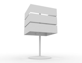 Blank white signboards with metal pole stand , 3в rendered illustration