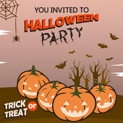 Vector design of  Halloween party invitation.