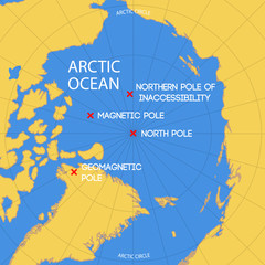 Schematic map of the location of the inaccessibility pole, North pole, geomagnetic and magnetic North pole