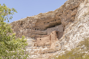 Cave dwellings in the side of a mountain in Arizona