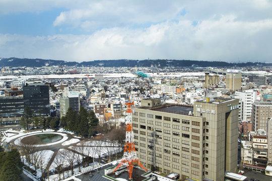 富山市役所展望塔からの風景(西方向)
