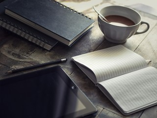 coffee mug cup chocolate hot drink cafe breakfast book tablet notebook