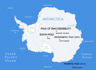 Schematic vector map. Location of the South poles