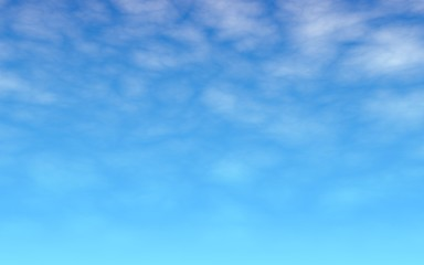 The bright sky in the morning. Blue sky background with white clouds. Cumulus white clouds in the clear blue sky. 3D illustration