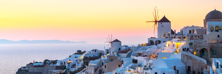 Aluminium Prints Santorini View of Oia the most beautiful village of Santorini Island in Greece.